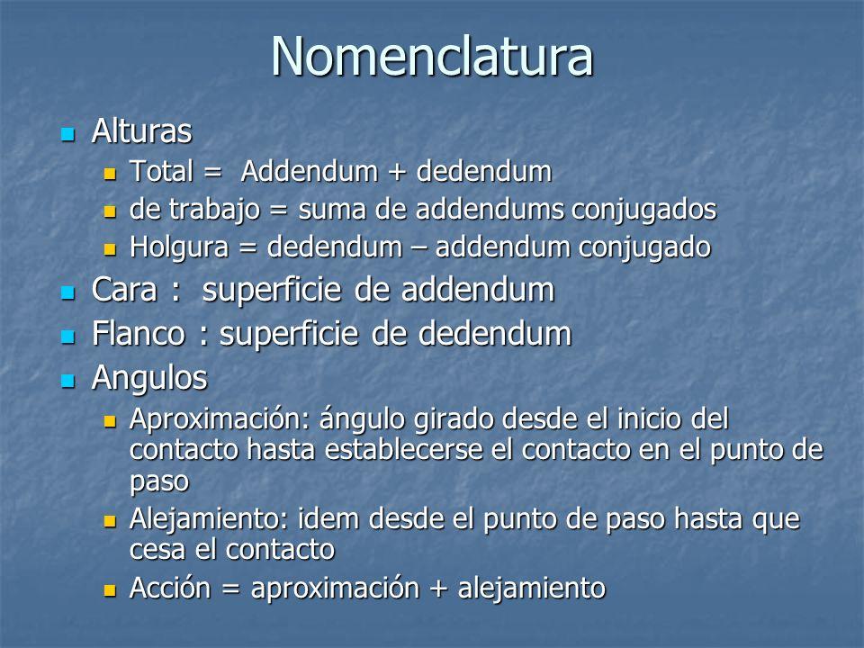 Nomenclatura Alturas Alturas Total = Addendum + dedendum Total = Addendum + dedendum de trabajo = suma de addendums conjugados de trabajo = suma de ad