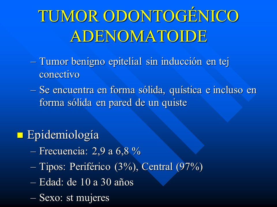 TUMOR ODONTOGÉNICO ADENOMATOIDE –Tumor benigno epitelial sin inducción en tej conectivo –Se encuentra en forma sólida, quística e incluso en forma sól