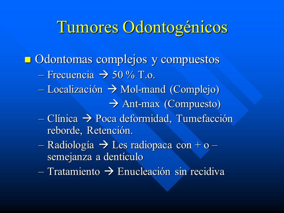 Tumores Odontogénicos Odontomas complejos y compuestos Odontomas complejos y compuestos –Frecuencia 50 % T.o. –Localización Mol-mand (Complejo) Ant-ma
