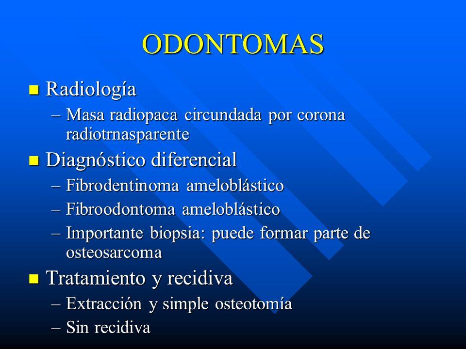ODONTOMAS Radiología Radiología –Masa radiopaca circundada por corona radiotrnasparente Diagnóstico diferencial Diagnóstico diferencial –Fibrodentinom