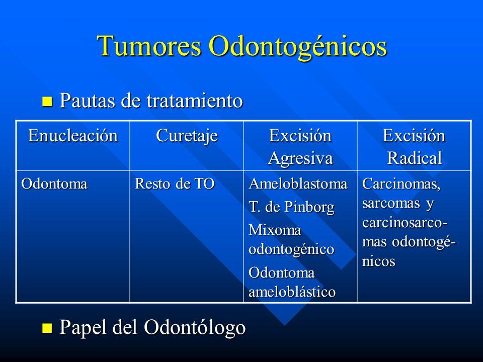 Tumores Odontogénicos Pautas de tratamiento Pautas de tratamiento Papel del Odontólogo Papel del Odontólogo EnucleaciónCuretaje Excisión Agresiva Exci