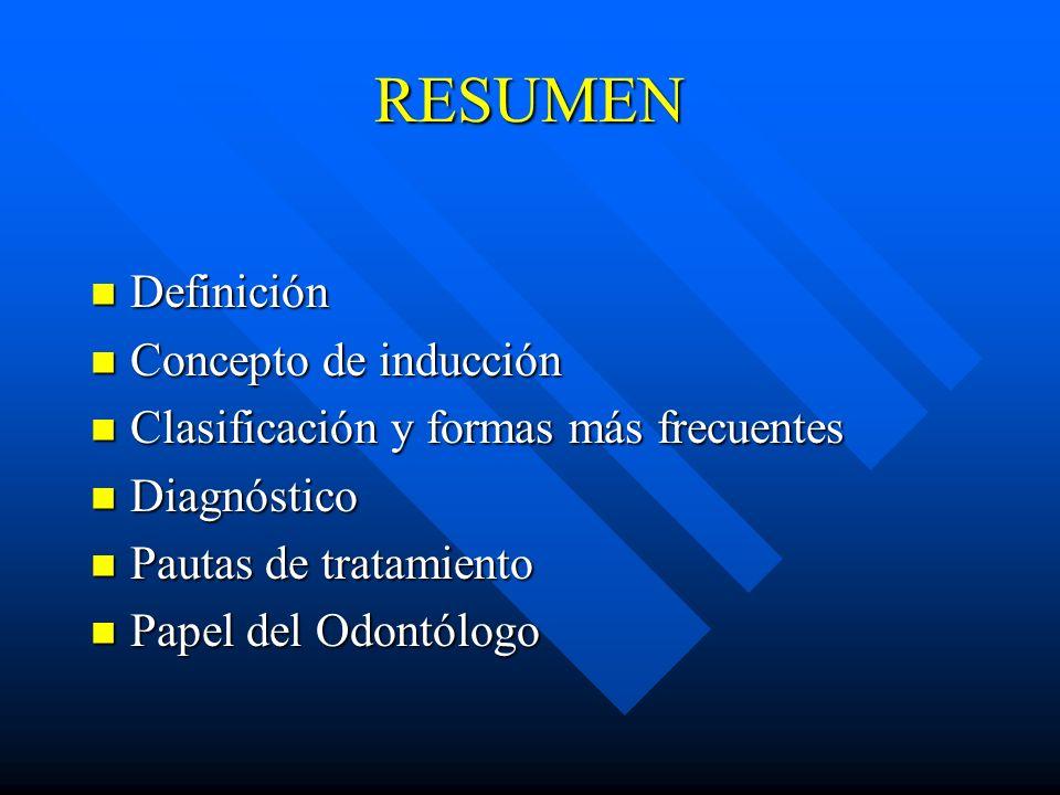 RESUMEN Definición Definición Concepto de inducción Concepto de inducción Clasificación y formas más frecuentes Clasificación y formas más frecuentes