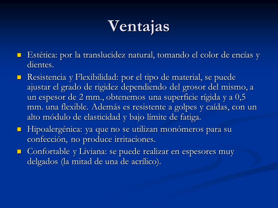 Desventajas No posibilidad de rebasamiento y reparaciones: por la naturaleza del material y las características de su fabricación (por inyección).
