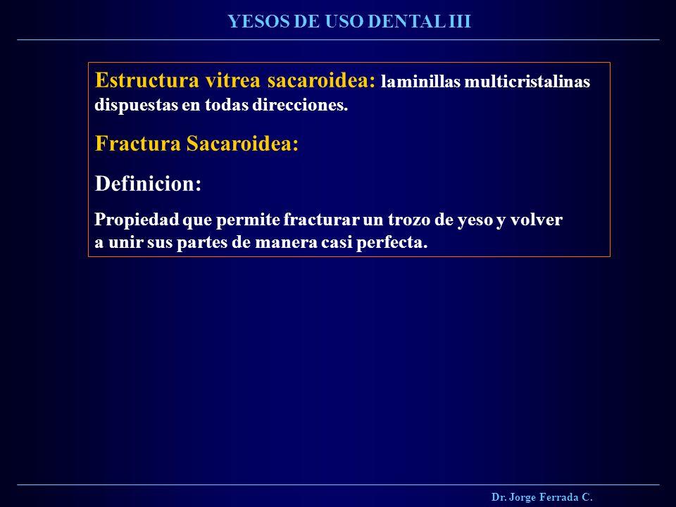 Dr. Jorge Ferrada C. YESOS DE USO DENTAL III Estructura vitrea sacaroidea: laminillas multicristalinas dispuestas en todas direcciones. Fractura Sacar