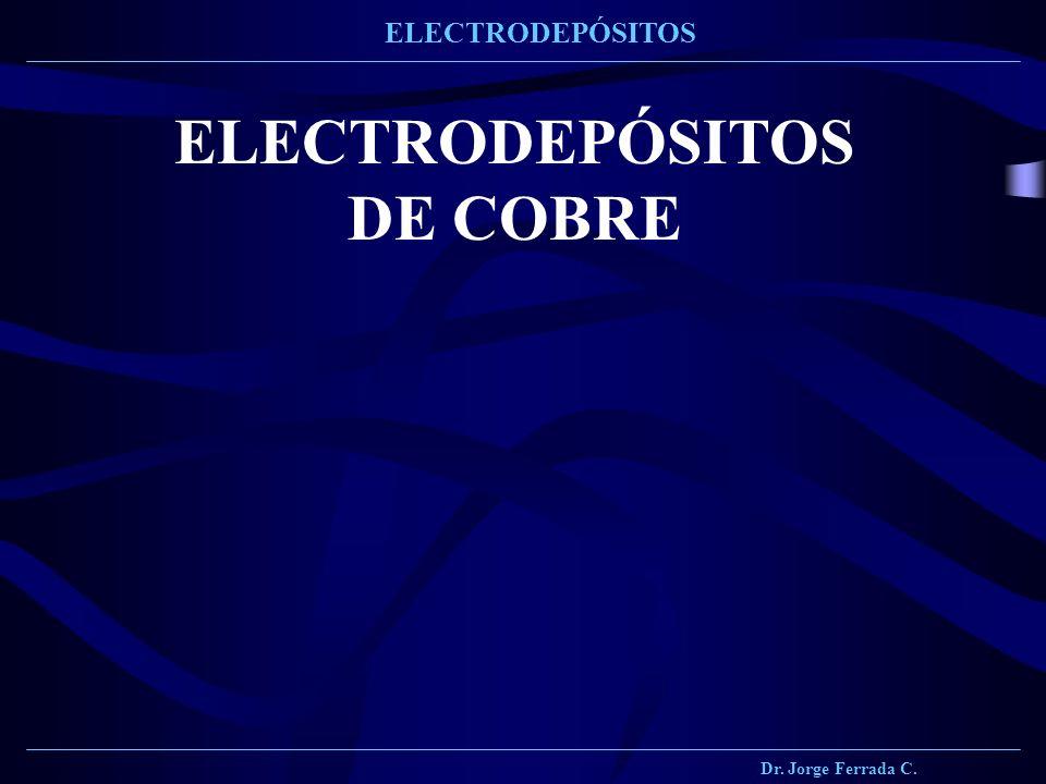Dr. Jorge Ferrada C. ELECTRODEPÓSITOS ELECTRODEPÓSITOS DE COBRE