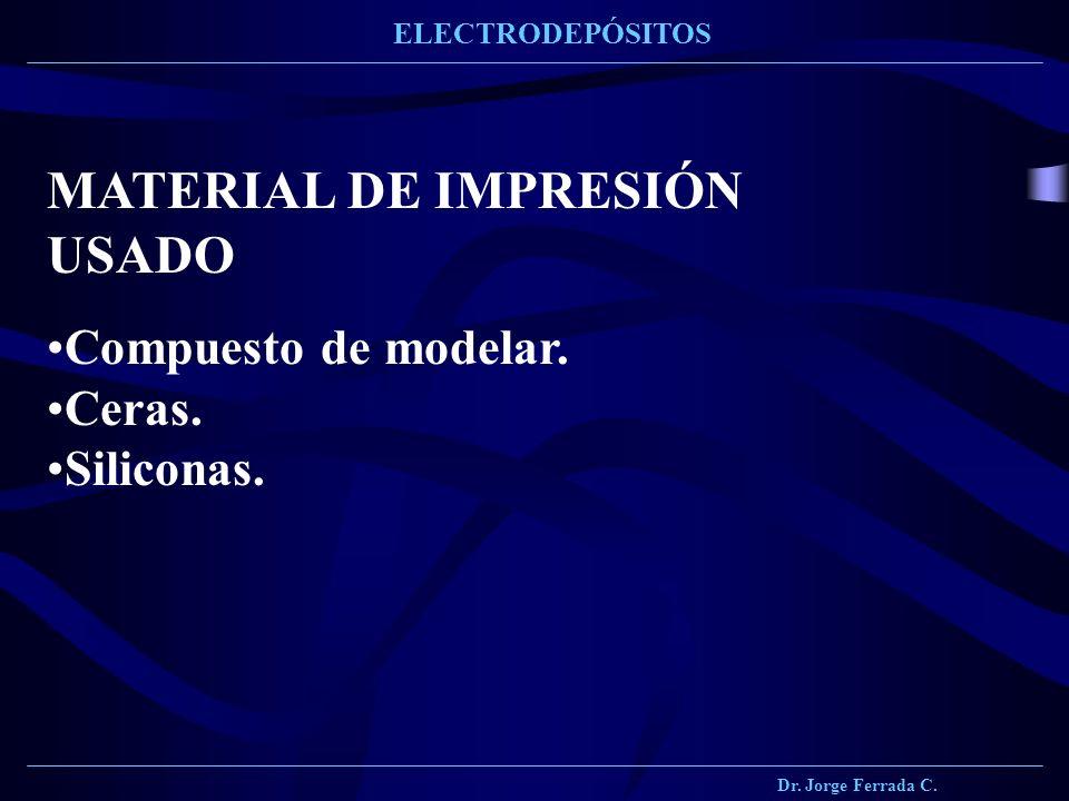 Dr. Jorge Ferrada C. ELECTRODEPÓSITOS MATERIAL DE IMPRESIÓN USADO Compuesto de modelar. Ceras. Siliconas.