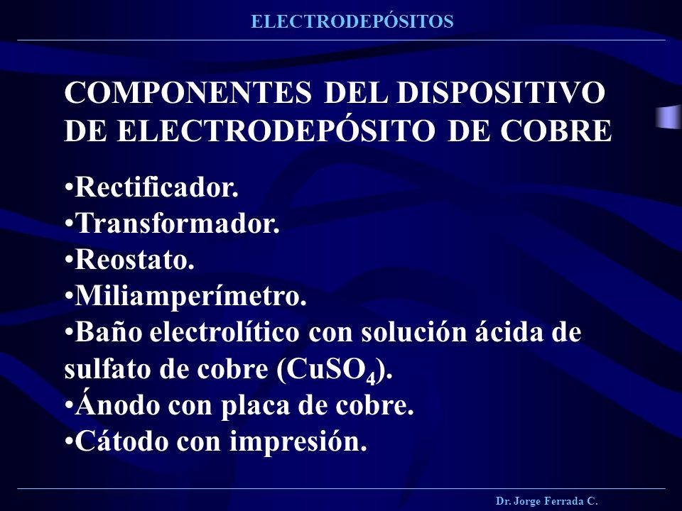 Dr. Jorge Ferrada C. ELECTRODEPÓSITOS COMPONENTES DEL DISPOSITIVO DE ELECTRODEPÓSITO DE COBRE Rectificador. Transformador. Reostato. Miliamperímetro.