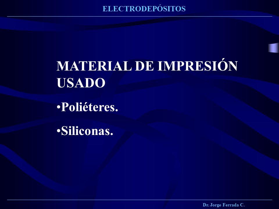 Dr. Jorge Ferrada C. ELECTRODEPÓSITOS MATERIAL DE IMPRESIÓN USADO Poliéteres. Siliconas.