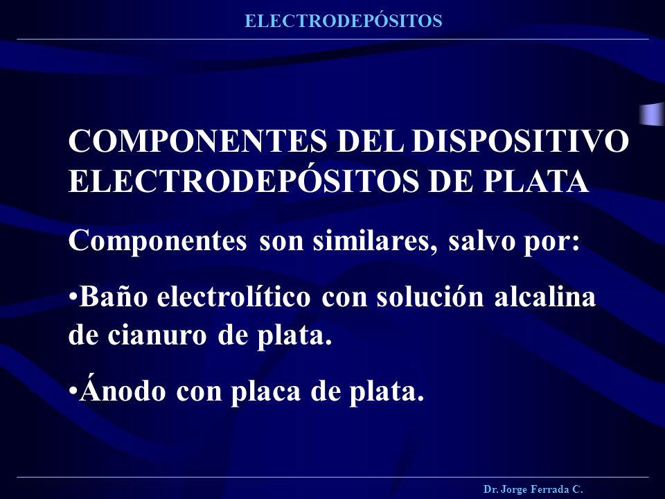 Dr. Jorge Ferrada C. ELECTRODEPÓSITOS COMPONENTES DEL DISPOSITIVO ELECTRODEPÓSITOS DE PLATA Componentes son similares, salvo por: Baño electrolítico c