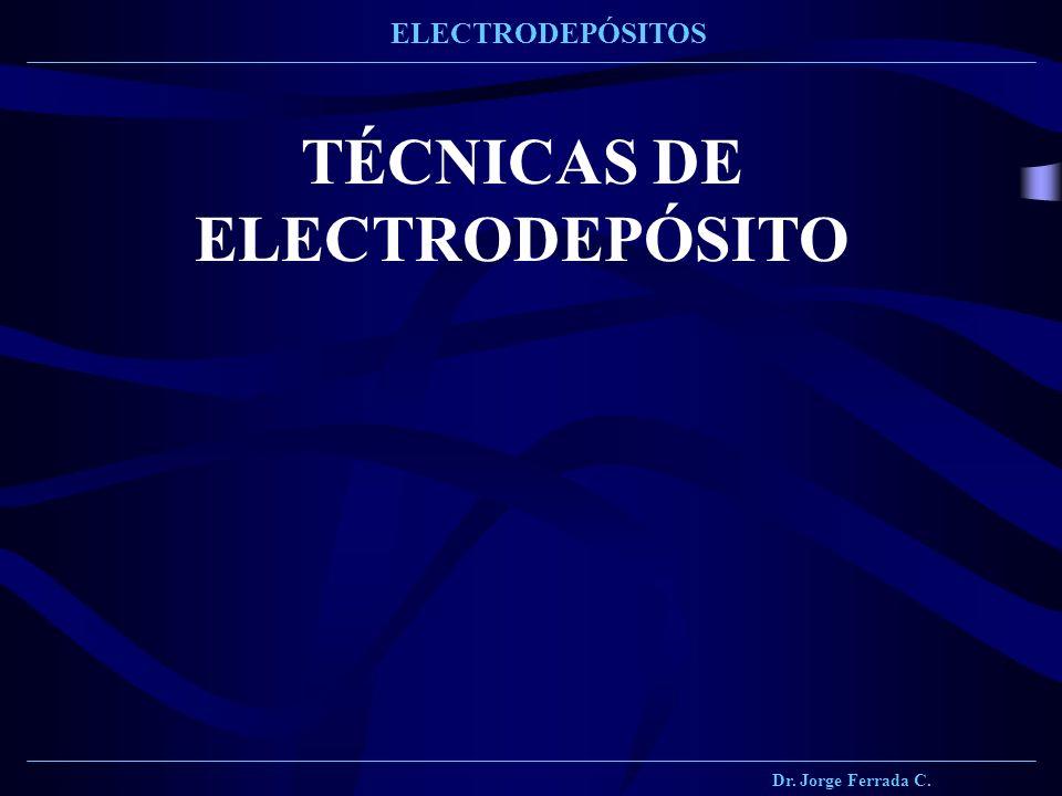 Dr. Jorge Ferrada C. ELECTRODEPÓSITOS TÉCNICAS DE ELECTRODEPÓSITO