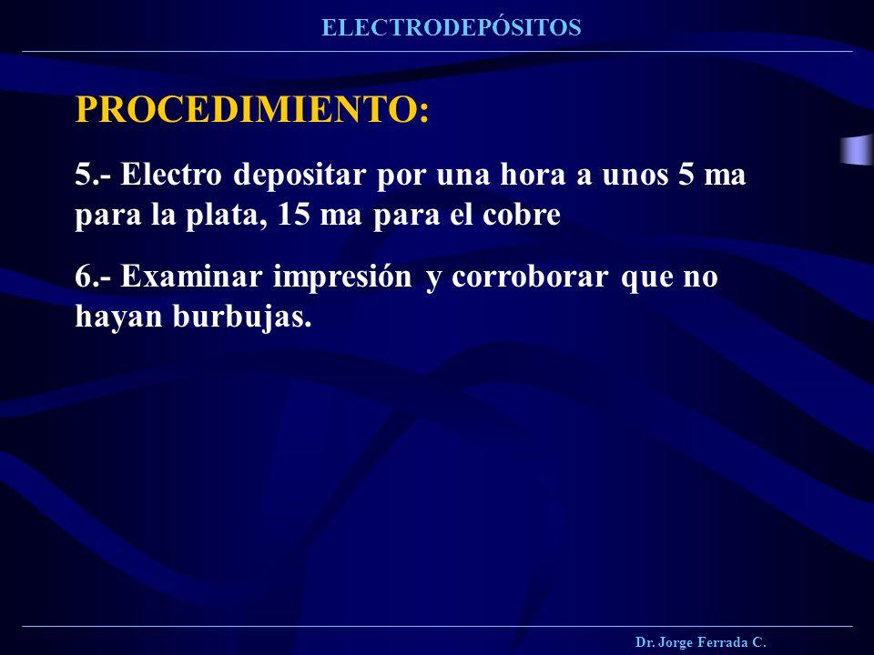 Dr. Jorge Ferrada C. ELECTRODEPÓSITOS PROCEDIMIENTO: 5.- Electro depositar por una hora a unos 5 ma para la plata, 15 ma para el cobre 6.- Examinar im