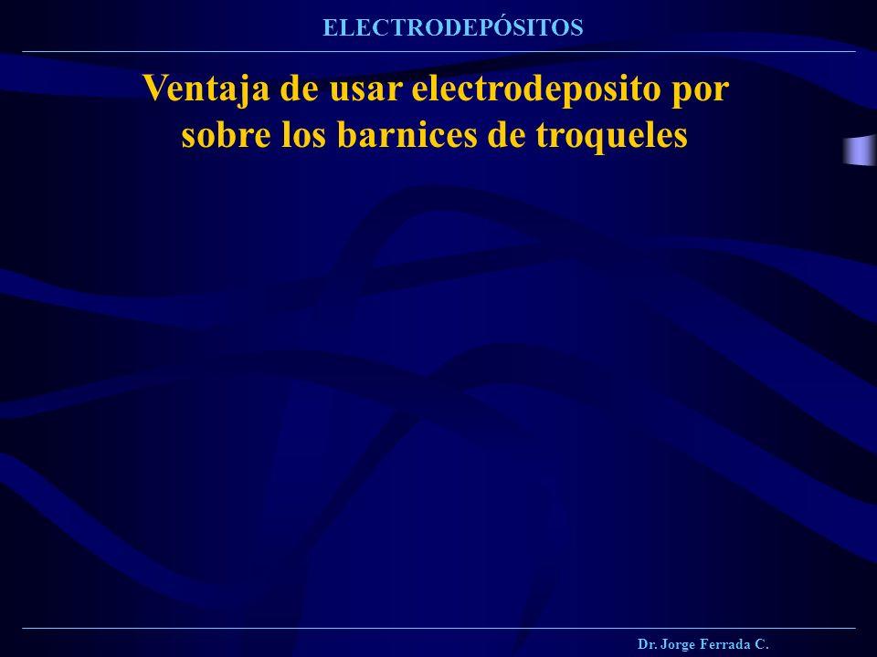 Dr. Jorge Ferrada C. ELECTRODEPÓSITOS Ventaja de usar electrodeposito por sobre los barnices de troqueles