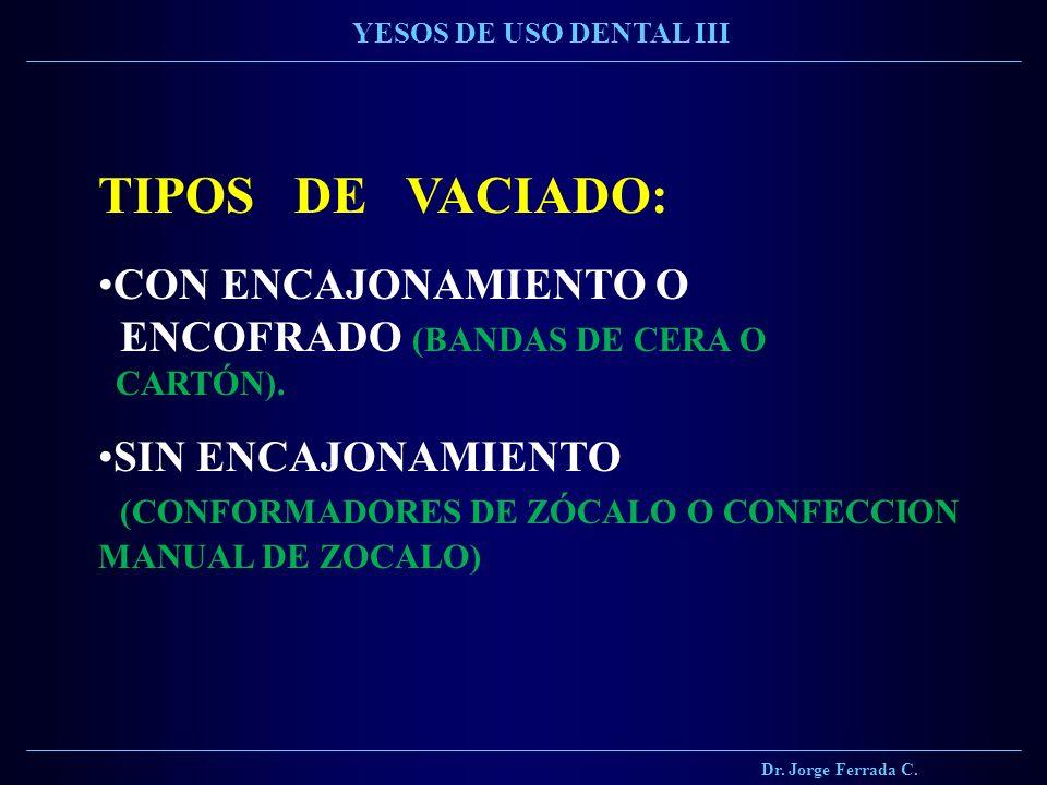 TIPOS DE VACIADO: CON ENCAJONAMIENTO O ENCOFRADO (BANDAS DE CERA O CARTÓN). SIN ENCAJONAMIENTO (CONFORMADORES DE ZÓCALO O CONFECCION MANUAL DE ZOCALO)
