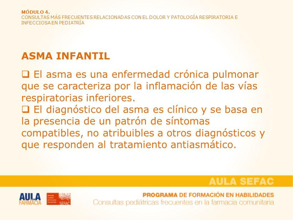 MÓDULO 4. CONSULTAS MÁS FRECUENTES RELACIONADAS CON EL DOLOR Y PATOLOGÍA RESPIRATORIA E INFECCIOSA EN PEDIATRÍA ASMA INFANTIL El asma es una enfermeda