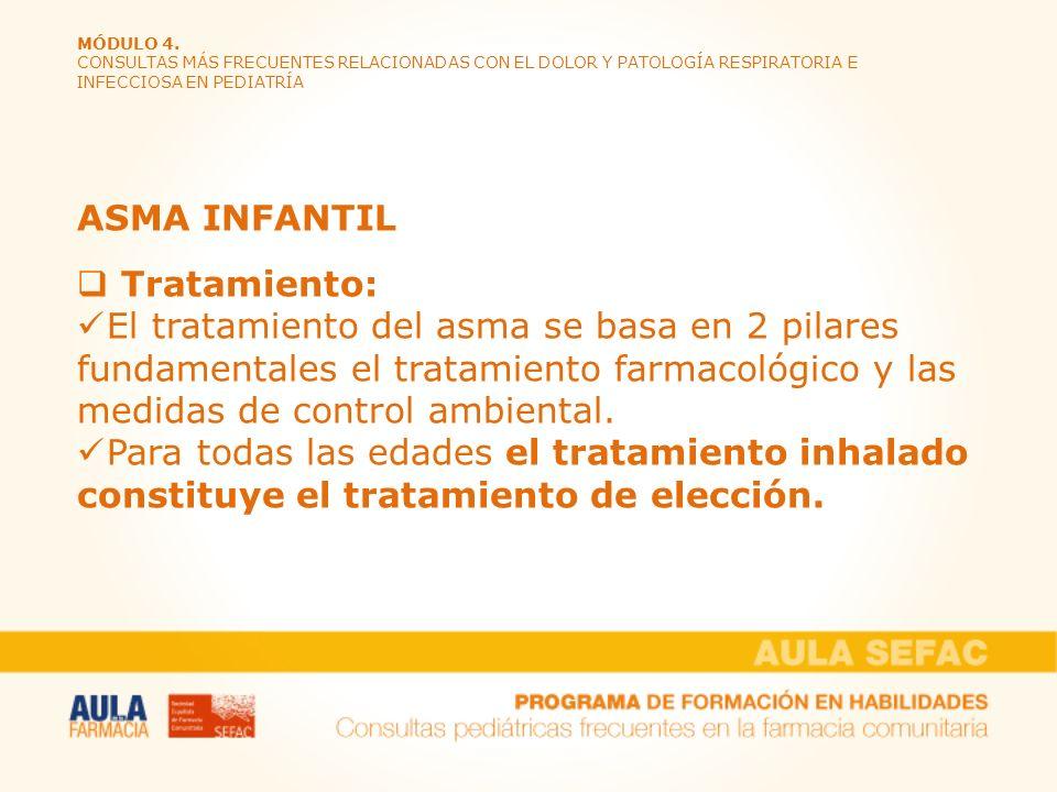 MÓDULO 4. CONSULTAS MÁS FRECUENTES RELACIONADAS CON EL DOLOR Y PATOLOGÍA RESPIRATORIA E INFECCIOSA EN PEDIATRÍA ASMA INFANTIL Tratamiento: El tratamie