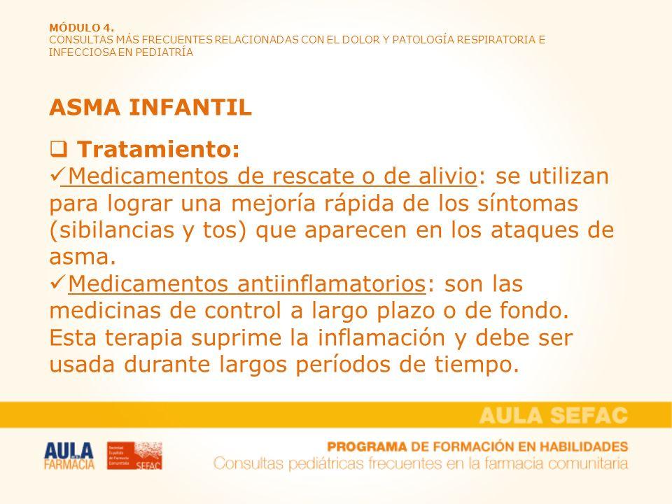 MÓDULO 4. CONSULTAS MÁS FRECUENTES RELACIONADAS CON EL DOLOR Y PATOLOGÍA RESPIRATORIA E INFECCIOSA EN PEDIATRÍA ASMA INFANTIL Tratamiento: Medicamento