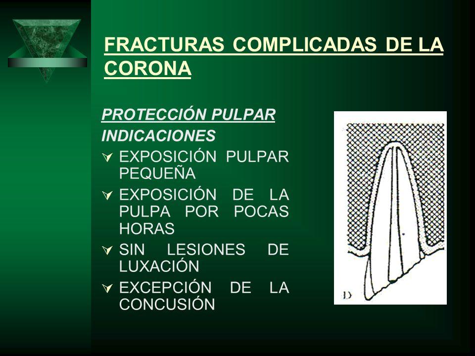FRACTURAS COMPLICADAS DE LA CORONA PROTECCIÓN PULPAR INDICACIONES EXPOSICIÓN PULPAR PEQUEÑA EXPOSICIÓN DE LA PULPA POR POCAS HORAS SIN LESIONES DE LUX