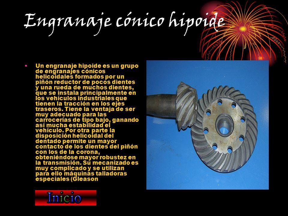 Engranaje cónico hipoide Un engranaje hipoide es un grupo de engranajes cónicos helicoidales formados por un piñón reductor de pocos dientes y una rue