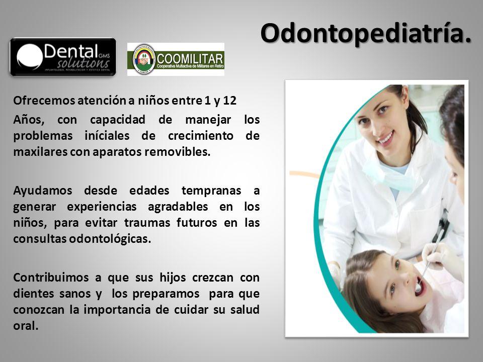 Ofrecemos atención a niños entre 1 y 12 Años, con capacidad de manejar los problemas iníciales de crecimiento de maxilares con aparatos removibles. Ay