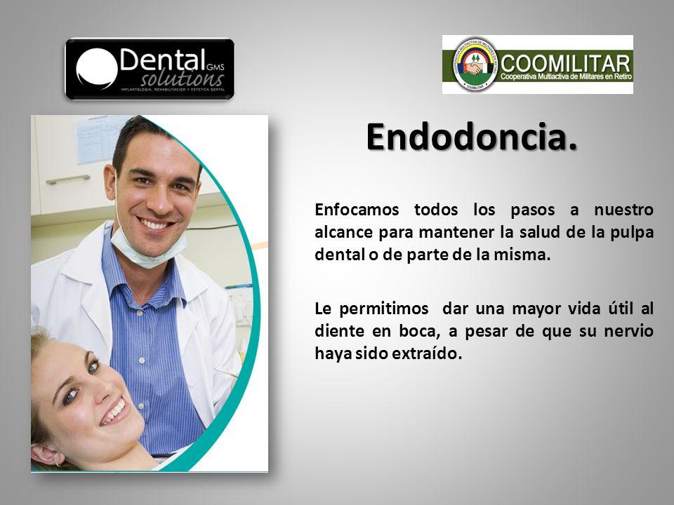 Enfocamos todos los pasos a nuestro alcance para mantener la salud de la pulpa dental o de parte de la misma. Le permitimos dar una mayor vida útil al