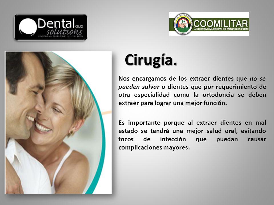 Nos encargamos de los extraer dientes que no se pueden salvar o dientes que por requerimiento de otra especialidad como la ortodoncia se deben extraer