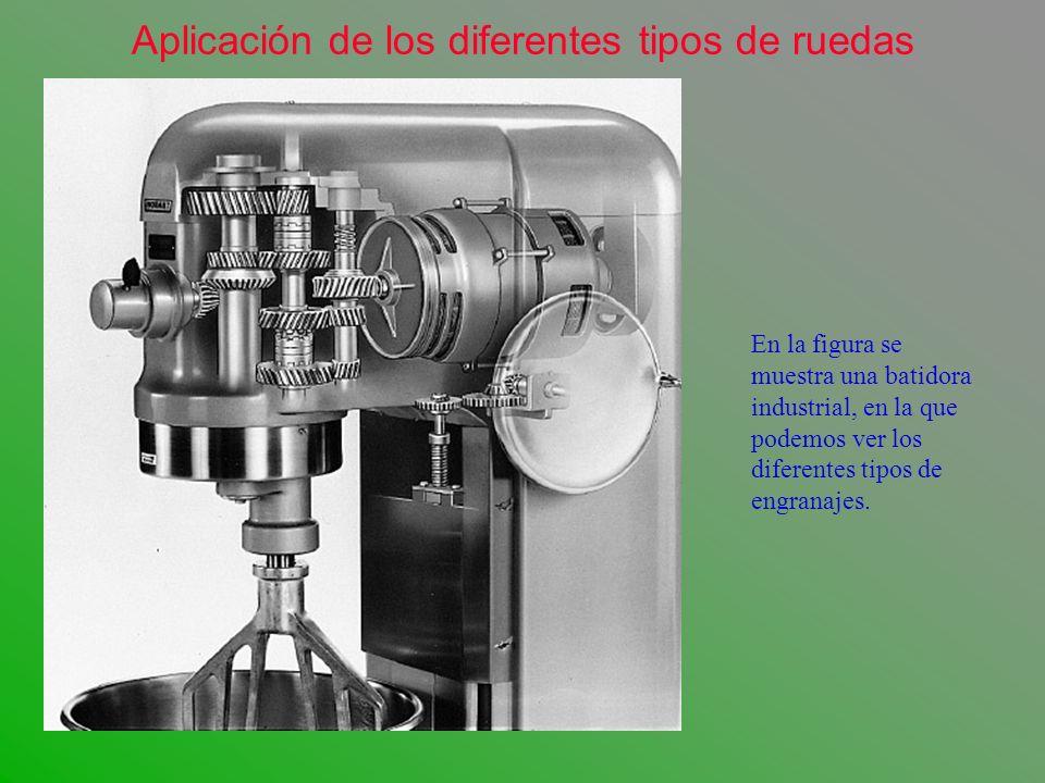 En la figura se muestra una batidora industrial, en la que podemos ver los diferentes tipos de engranajes. Aplicación de los diferentes tipos de rueda