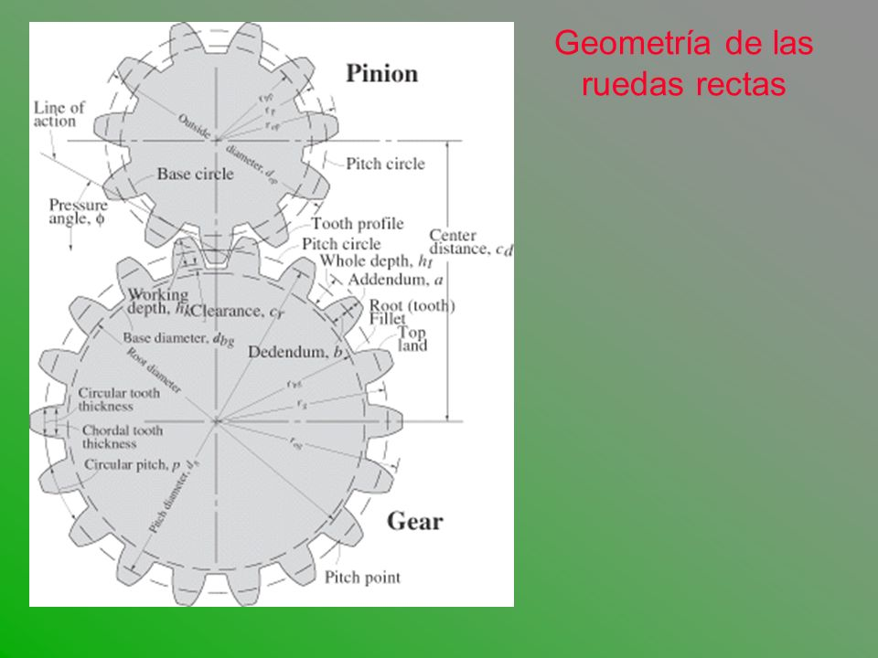 RUEDAS RECTAS FUERZAS GENERADAS Fuerza Tangencial: Ft = Mt / R Fuerza Radial: Fr = Ft Tg, ángulo de contacto.