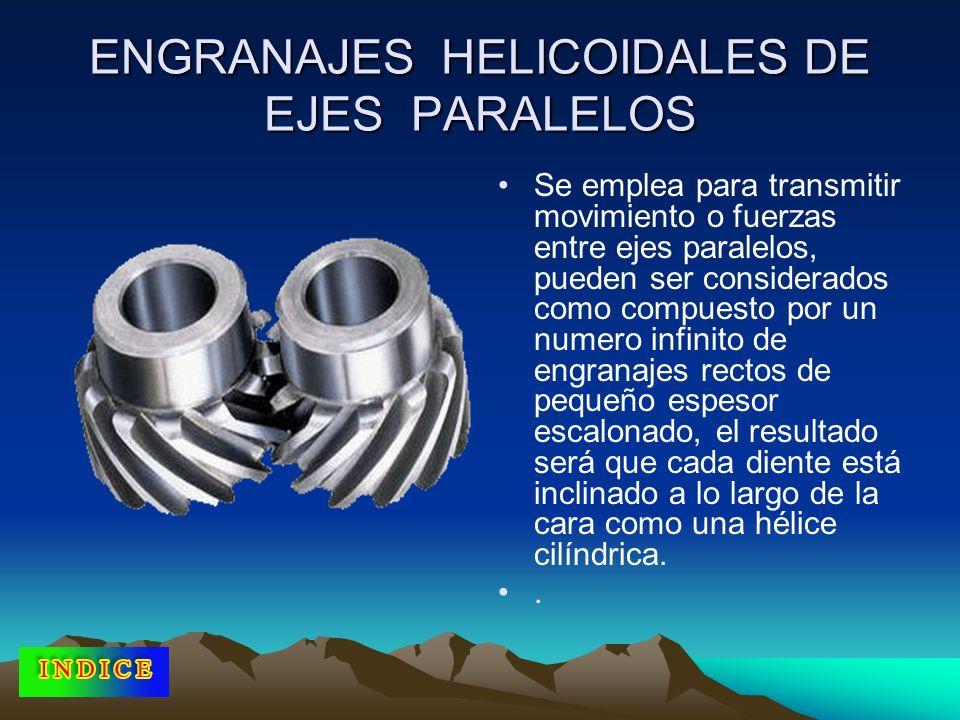ENGRANAJES HELICOIDALES DE EJES PARALELOS Se emplea para transmitir movimiento o fuerzas entre ejes paralelos, pueden ser considerados como compuesto