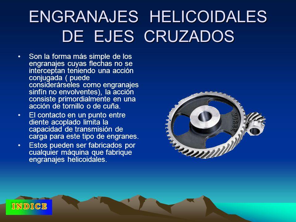 ENGRANAJES HELICOIDALES DE EJES CRUZADOS Son la forma más simple de los engranajes cuyas flechas no se interceptan teniendo una acción conjugada ( pue