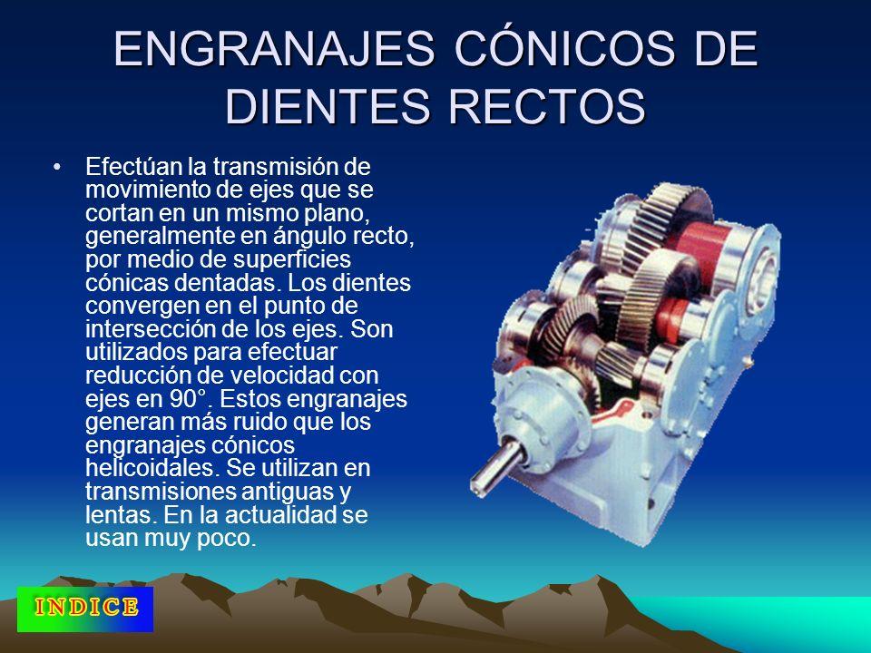 ENGRANAJES CÓNICOS DE DIENTES RECTOS Efectúan la transmisión de movimiento de ejes que se cortan en un mismo plano, generalmente en ángulo recto, por