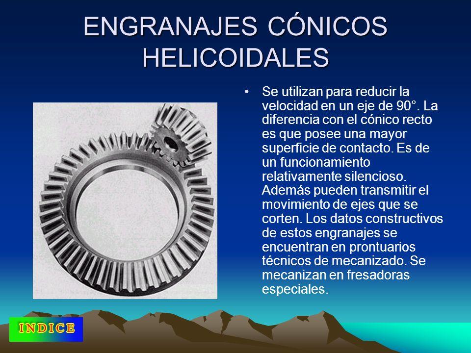 ENGRANAJES CÓNICOS HELICOIDALES Se utilizan para reducir la velocidad en un eje de 90°. La diferencia con el cónico recto es que posee una mayor super