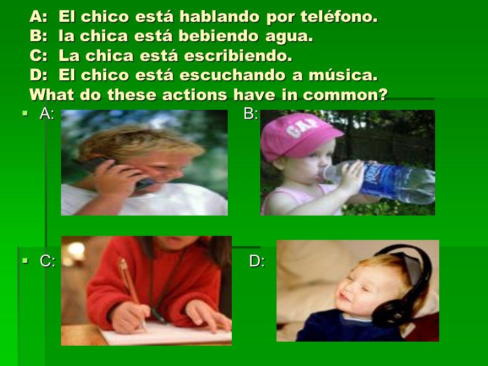 A: El chico está hablando por teléfono. B: la chica está bebiendo agua. C: La chica está escribiendo. D: El chico está escuchando a música. What do th