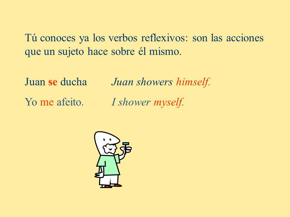 Tú conoces ya los verbos reflexivos: son las acciones que un sujeto hace sobre él mismo. Juan se duchaJuan showers himself. Yo me afeito. I shower mys