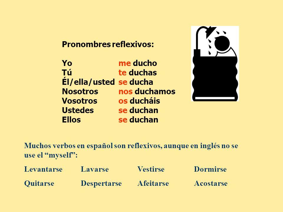 Muchos verbos en español son reflexivos, aunque en inglés no se use el myself: LevantarseLavarseVestirseDormirse QuitarseDespertarseAfeitarseAcostarse