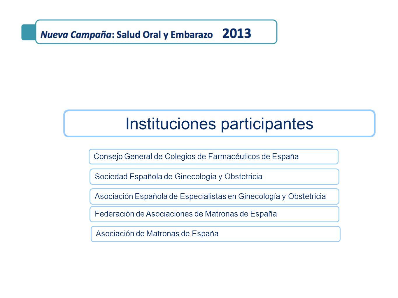 Instituciones participantes Consejo General de Colegios de Farmacéuticos de España Federación de Asociaciones de Matronas de España Sociedad Española