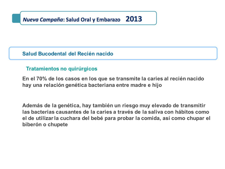 Salud Bucodental del Recién nacido En el 70% de los casos en los que se transmite la caries al recién nacido hay una relación genética bacteriana entr