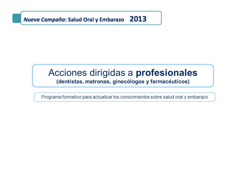 Acciones dirigidas a profesionales (dentistas, matronas, ginecólogos y farmacéuticos) Programa formativo para actualizar los conocimientos sobre salud