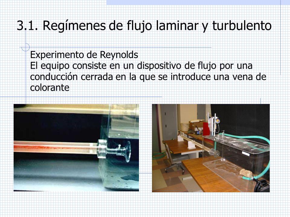 3.1. Regímenes de flujo laminar y turbulento Experimento de Reynolds El equipo consiste en un dispositivo de flujo por una conducción cerrada en la qu