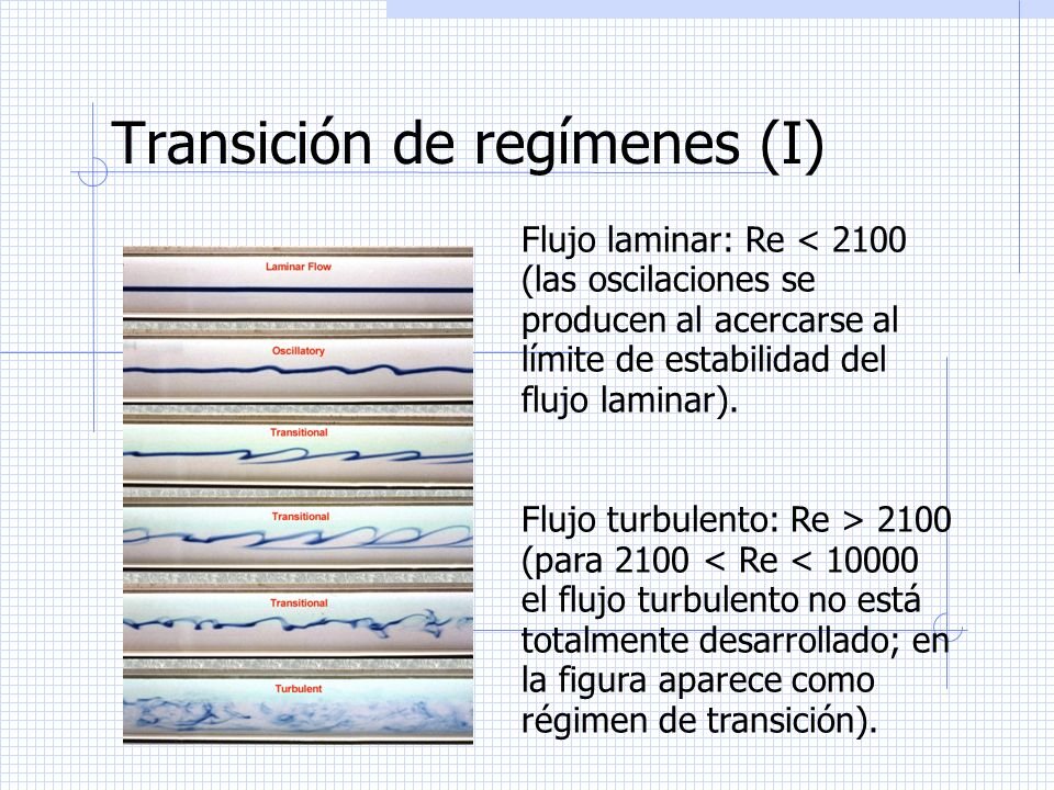Transición de regímenes (I) Flujo laminar: Re < 2100 (las oscilaciones se producen al acercarse al límite de estabilidad del flujo laminar). Flujo tur