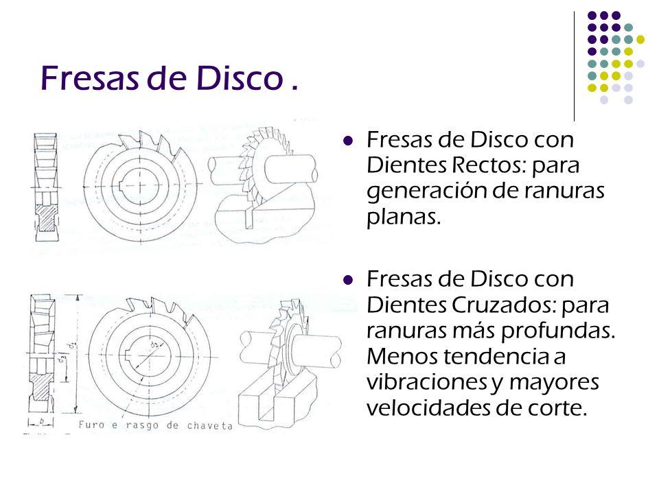 Fresas de Disco. Fresas de Disco con Dientes Rectos: para generación de ranuras planas. Fresas de Disco con Dientes Cruzados: para ranuras más profund
