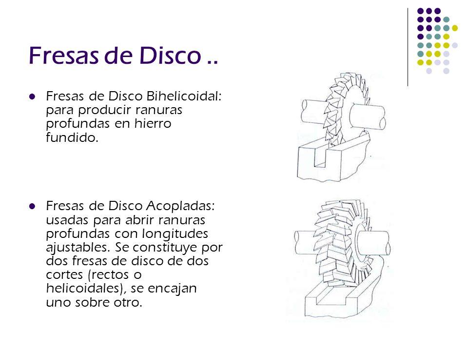 Fresas de Disco.. Fresas de Disco Bihelicoidal: para producir ranuras profundas en hierro fundido. Fresas de Disco Acopladas: usadas para abrir ranura