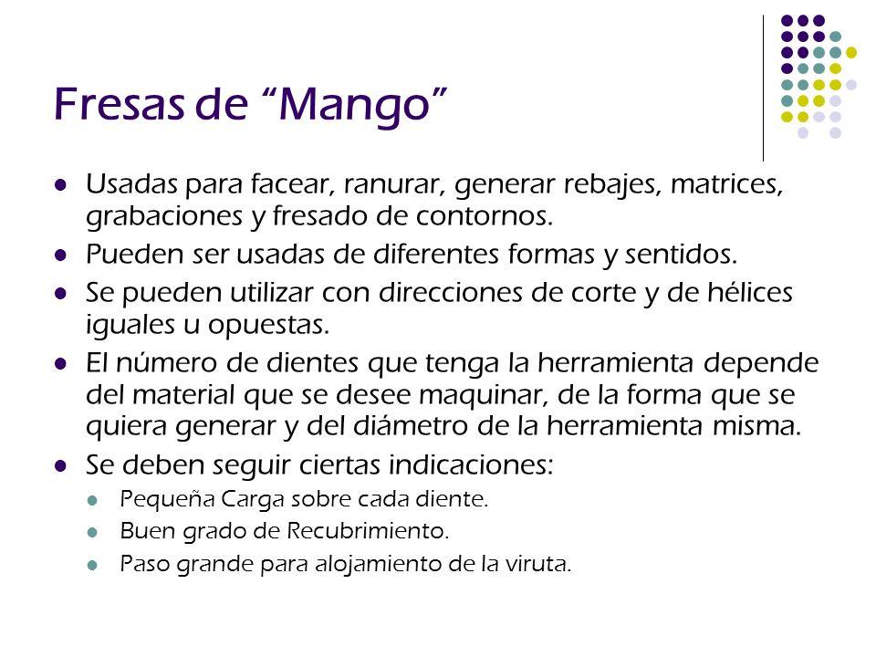 Fresas de Mango Usadas para facear, ranurar, generar rebajes, matrices, grabaciones y fresado de contornos. Pueden ser usadas de diferentes formas y s