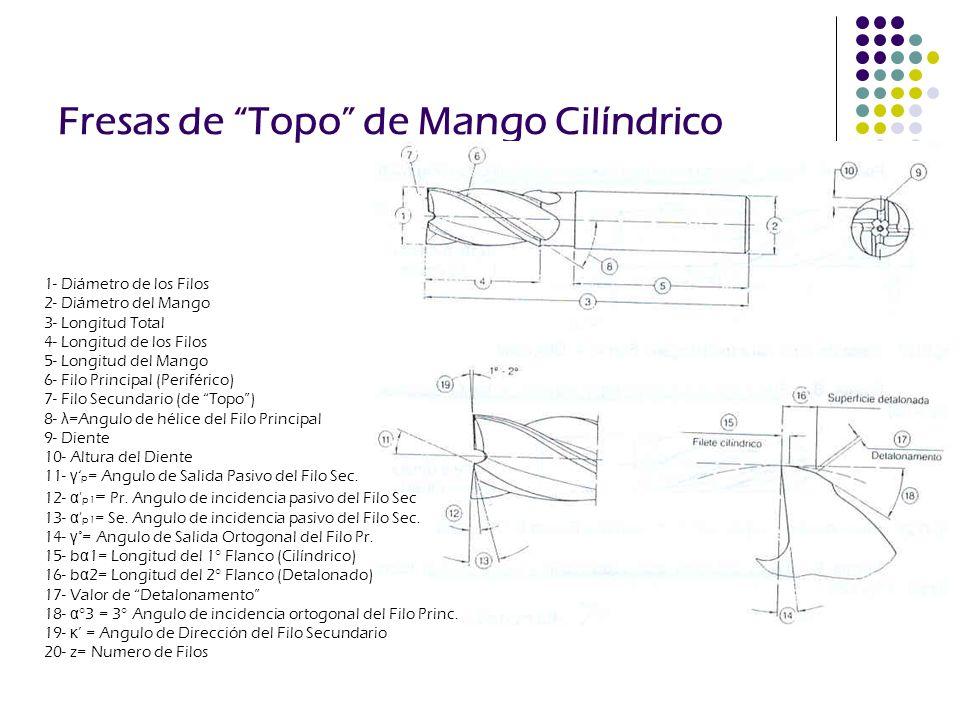Fresas de Topo de Mango Cilíndrico 1- Diámetro de los Filos 2- Diámetro del Mango 3- Longitud Total 4- Longitud de los Filos 5- Longitud del Mango 6-