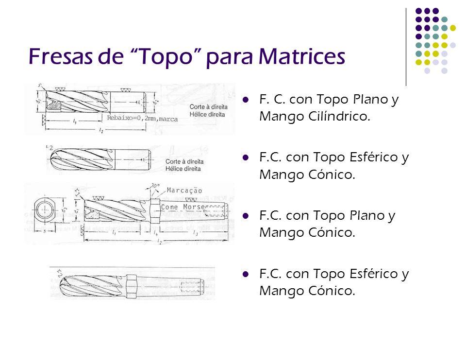 Fresas de Topo para Matrices F. C. con Topo Plano y Mango Cilíndrico. F.C. con Topo Esférico y Mango Cónico. F.C. con Topo Plano y Mango Cónico. F.C.