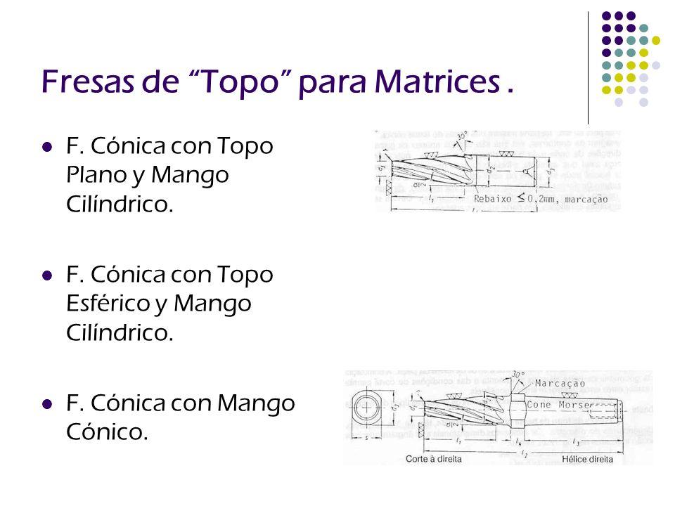Fresas de Topo para Matrices. F. Cónica con Topo Plano y Mango Cilíndrico. F. Cónica con Topo Esférico y Mango Cilíndrico. F. Cónica con Mango Cónico.