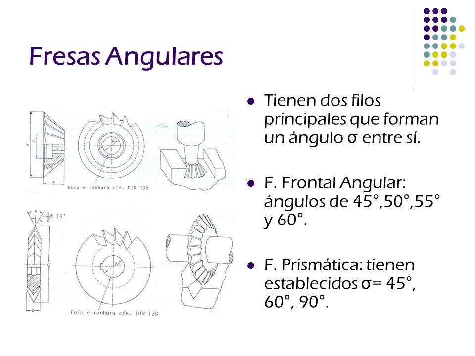 Fresas Angulares Tienen dos filos principales que forman un ángulo σ entre sí. F. Frontal Angular: ángulos de 45°,50°,55° y 60°. F. Prismática: tienen