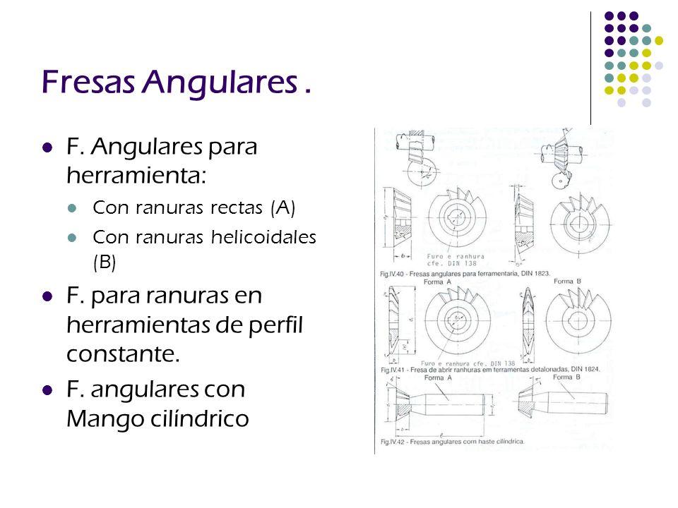 Fresas Angulares. F. Angulares para herramienta: Con ranuras rectas (A) Con ranuras helicoidales (B) F. para ranuras en herramientas de perfil constan