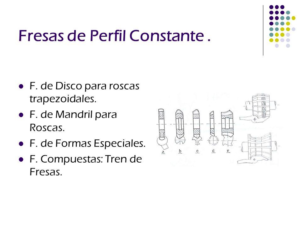 Fresas de Perfil Constante. F. de Disco para roscas trapezoidales. F. de Mandril para Roscas. F. de Formas Especiales. F. Compuestas: Tren de Fresas.