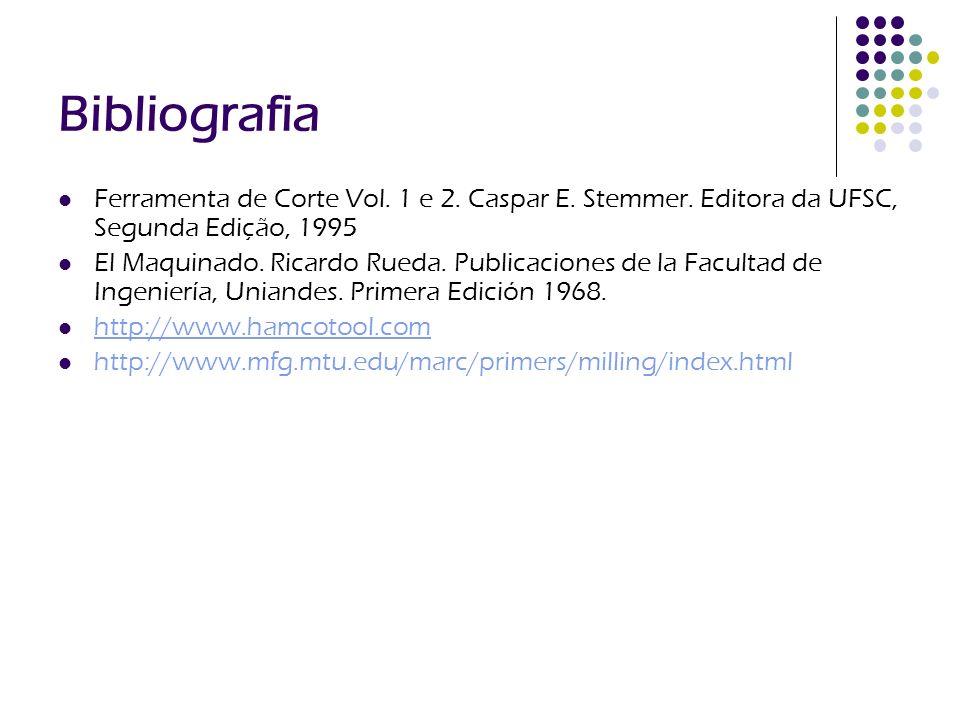 Bibliografia Ferramenta de Corte Vol. 1 e 2. Caspar E. Stemmer. Editora da UFSC, Segunda Edição, 1995 El Maquinado. Ricardo Rueda. Publicaciones de la