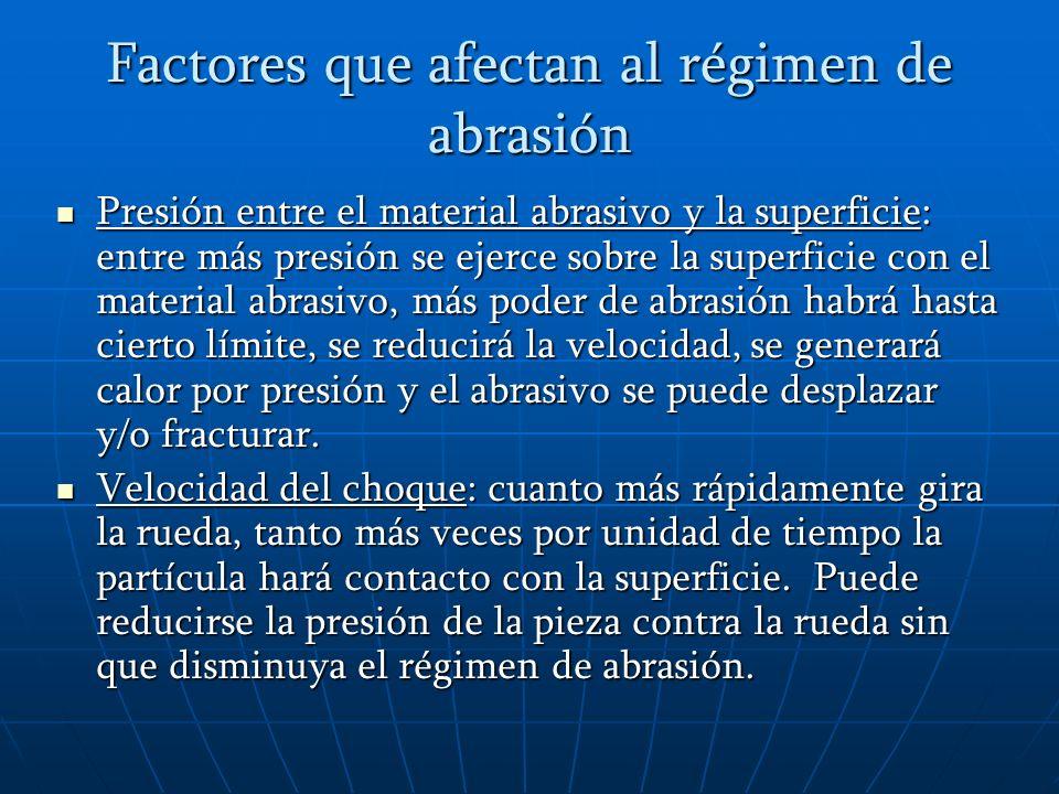 Factores que afectan al régimen de abrasión Dureza del polvo abrasivo: mientras más duro sea un sustrato, más duro debe ser el abrasivo necesario.